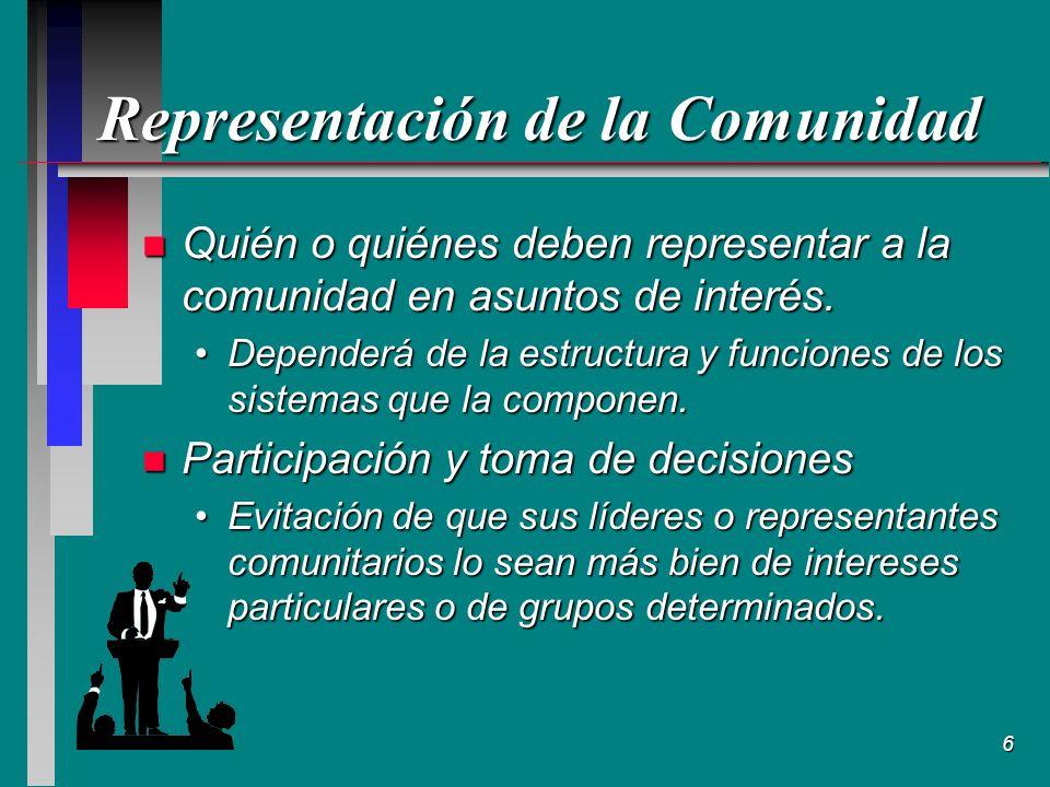 6 Representación de la Comunidad n Quién o quiénes deben representar a la comunidad en asuntos de interés.