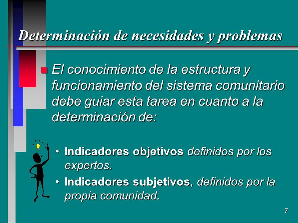 7 Determinación de necesidades y problemas n El conocimiento de la estructura y funcionamiento del sistema comunitario debe guiar esta tarea en cuanto a la determinación de: Indicadores objetivos definidos por los expertos.Indicadores objetivos definidos por los expertos.