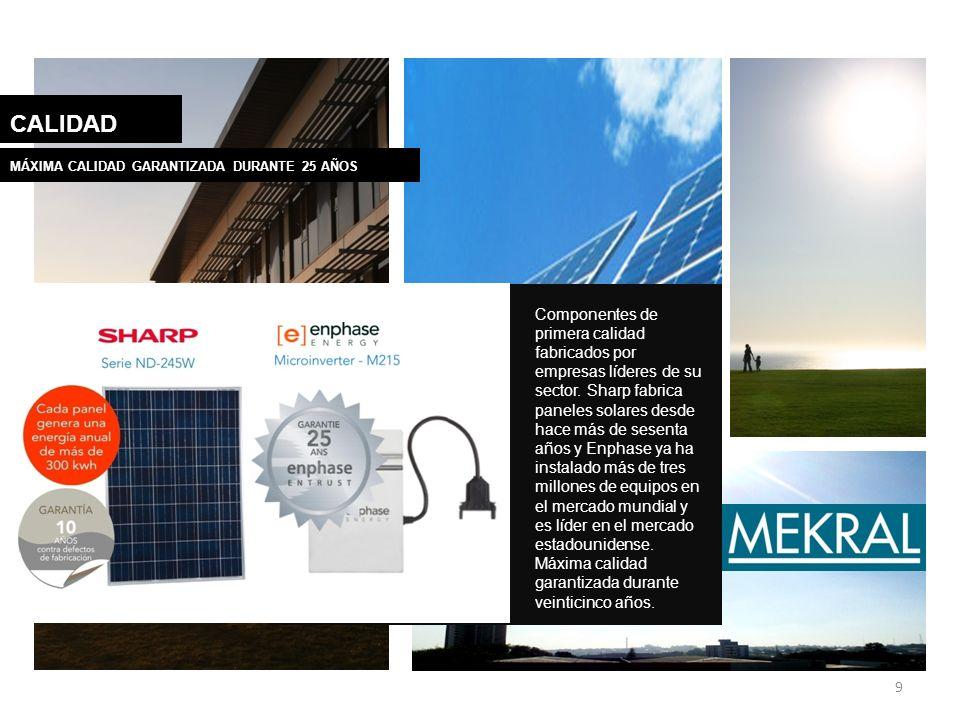 9 CALIDAD Componentes de primera calidad fabricados por empresas líderes de su sector. Sharp fabrica paneles solares desde hace más de sesenta años y