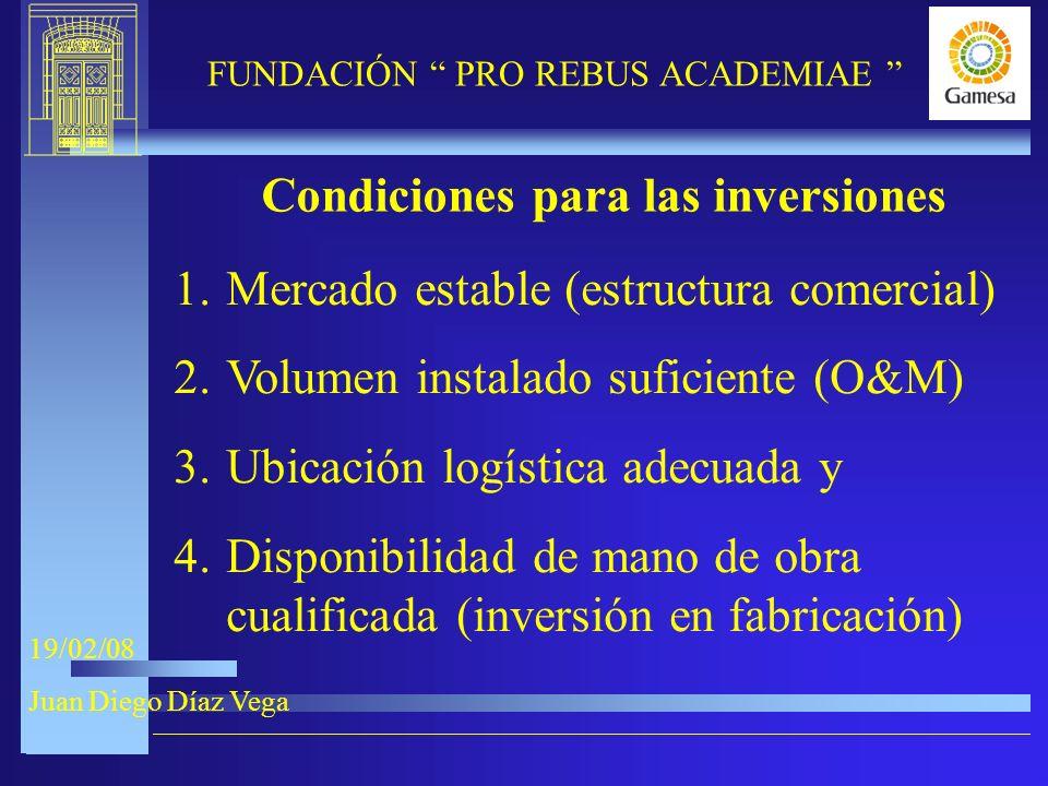 9-XI-2005 FUNDACIÓN PRO REBUS ACADEMIAE 19/02/08 Juan Diego Díaz Vega Condiciones para las inversiones 1.Mercado estable (estructura comercial) 2.Volumen instalado suficiente (O&M) 3.Ubicación logística adecuada y 4.Disponibilidad de mano de obra cualificada (inversión en fabricación)