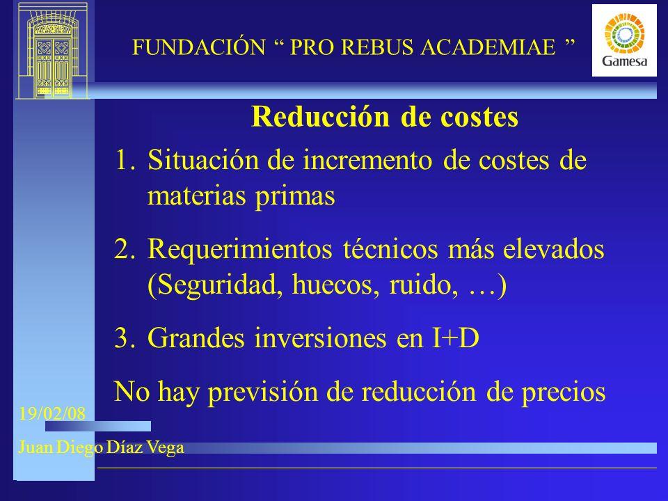 9-XI-2005 FUNDACIÓN PRO REBUS ACADEMIAE 19/02/08 Juan Diego Díaz Vega Reducción de costes 1.Situación de incremento de costes de materias primas 2.Requerimientos técnicos más elevados (Seguridad, huecos, ruido, …) 3.Grandes inversiones en I+D No hay previsión de reducción de precios