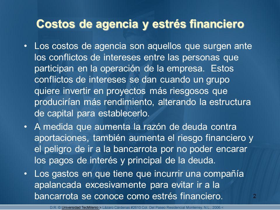2 Costos de agencia y estrés financiero Los costos de agencia son aquellos que surgen ante los conflictos de intereses entre las personas que particip