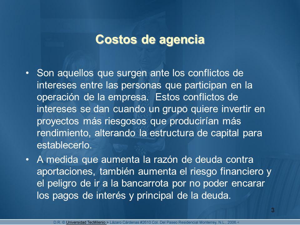 3 Costos de agencia Son aquellos que surgen ante los conflictos de intereses entre las personas que participan en la operación de la empresa. Estos co