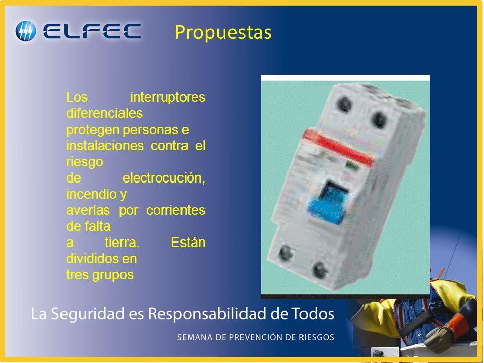 Propuestas Los interruptores diferenciales protegen personas e instalaciones contra el riesgo de electrocución, incendio y averías por corrientes de f