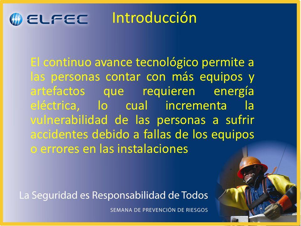 Introducción El continuo avance tecnológico permite a las personas contar con más equipos y artefactos que requieren energía eléctrica, lo cual incrementa la vulnerabilidad de las personas a sufrir accidentes debido a fallas de los equipos o errores en las instalaciones