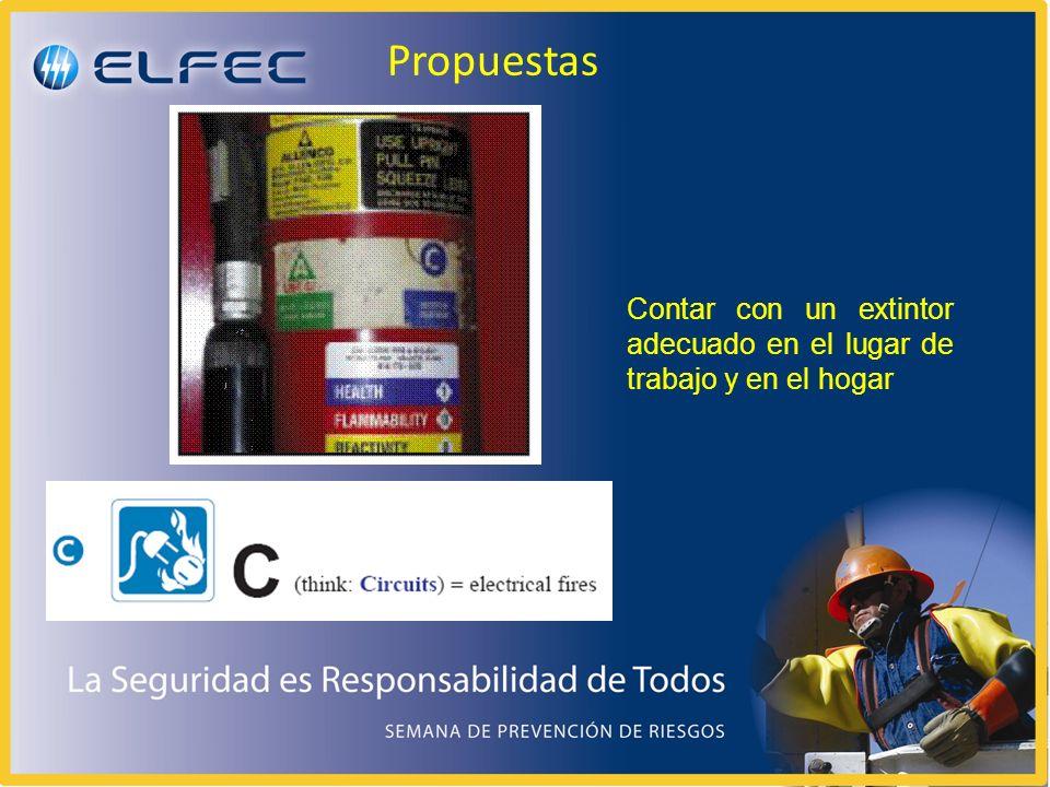 Propuestas Contar con un extintor adecuado en el lugar de trabajo y en el hogar