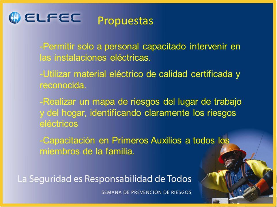 -Permitir solo a personal capacitado intervenir en las instalaciones eléctricas. -Utilizar material eléctrico de calidad certificada y reconocida. -Re