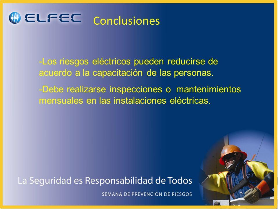 Conclusiones -Los riesgos eléctricos pueden reducirse de acuerdo a la capacitación de las personas. -Debe realizarse inspecciones o mantenimientos men