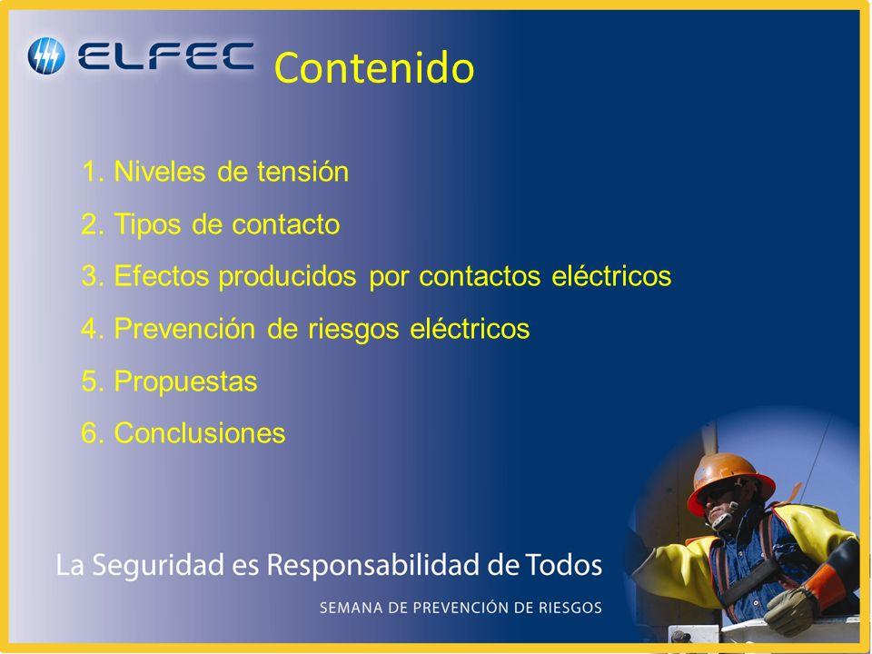 Contenido 1.Niveles de tensión 2.Tipos de contacto 3.Efectos producidos por contactos eléctricos 4.Prevención de riesgos eléctricos 5.Propuestas 6.Conclusiones