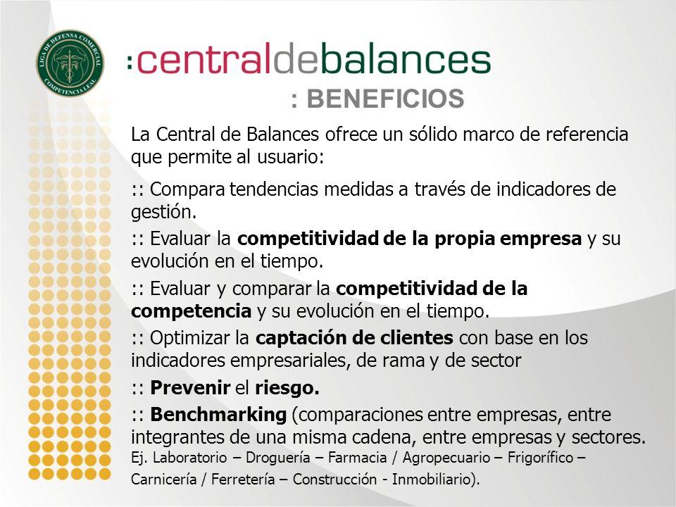 : BENEFICIOS La Central de Balances ofrece un sólido marco de referencia que permite al usuario: :: Compara tendencias medidas a través de indicadores de gestión.