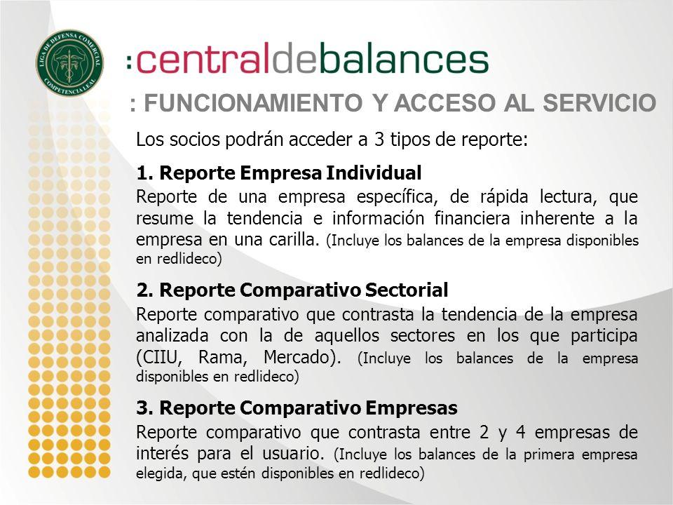 Los socios podrán acceder a 3 tipos de reporte: 1.
