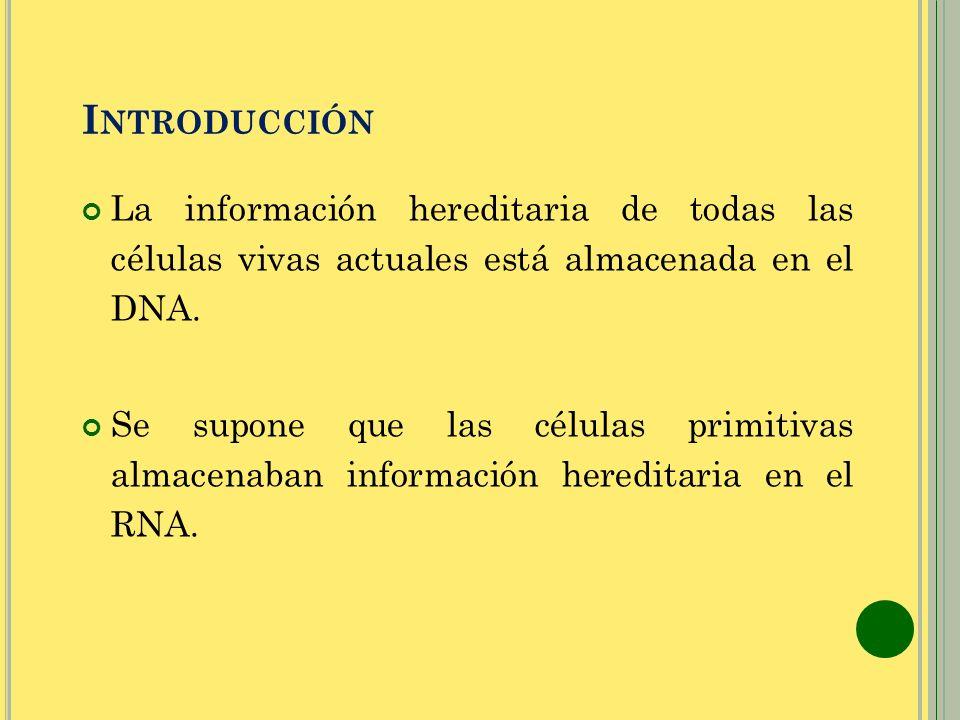 I NTRODUCCIÓN La información hereditaria de todas las células vivas actuales está almacenada en el DNA. Se supone que las células primitivas almacenab