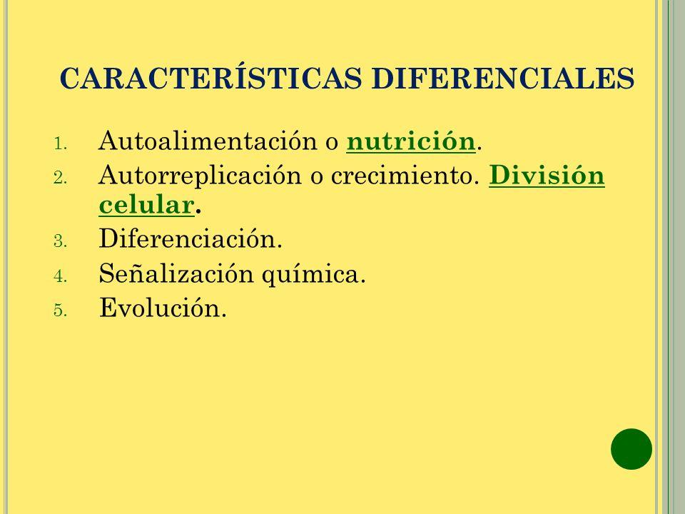 CARACTERÍSTICAS DIFERENCIALES 1. Autoalimentación o nutrición.nutrición 2. Autorreplicación o crecimiento. División celular. División celular 3. Difer