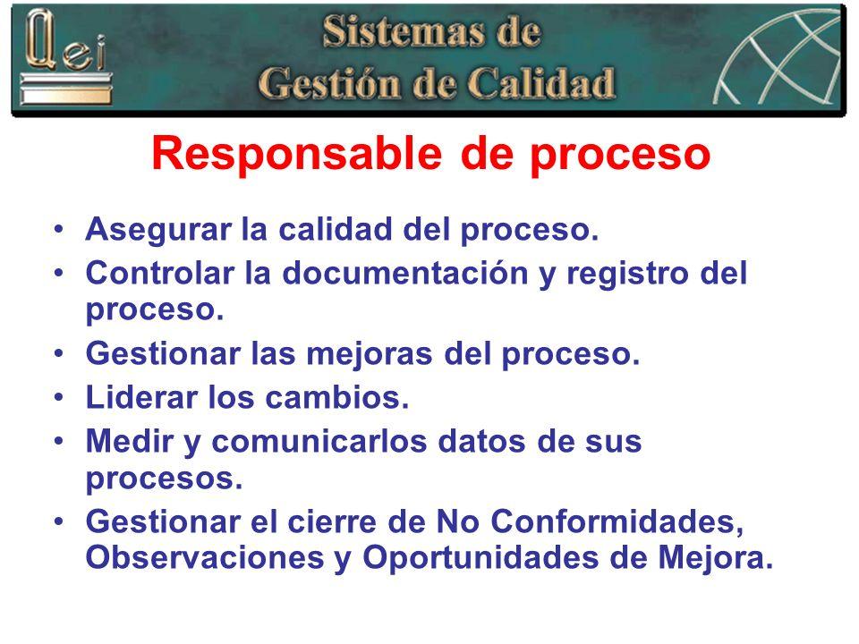 Responsable de proceso Asegurar la calidad del proceso. Controlar la documentación y registro del proceso. Gestionar las mejoras del proceso. Liderar