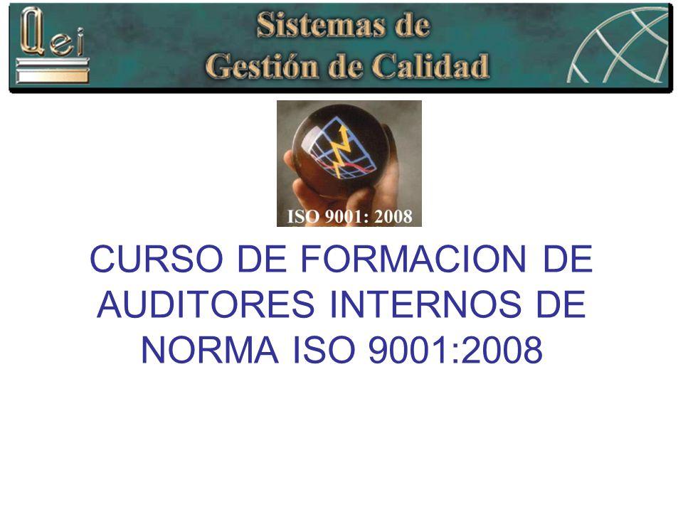 CURSO DE FORMACION DE AUDITORES INTERNOS DE NORMA ISO 9001:2008