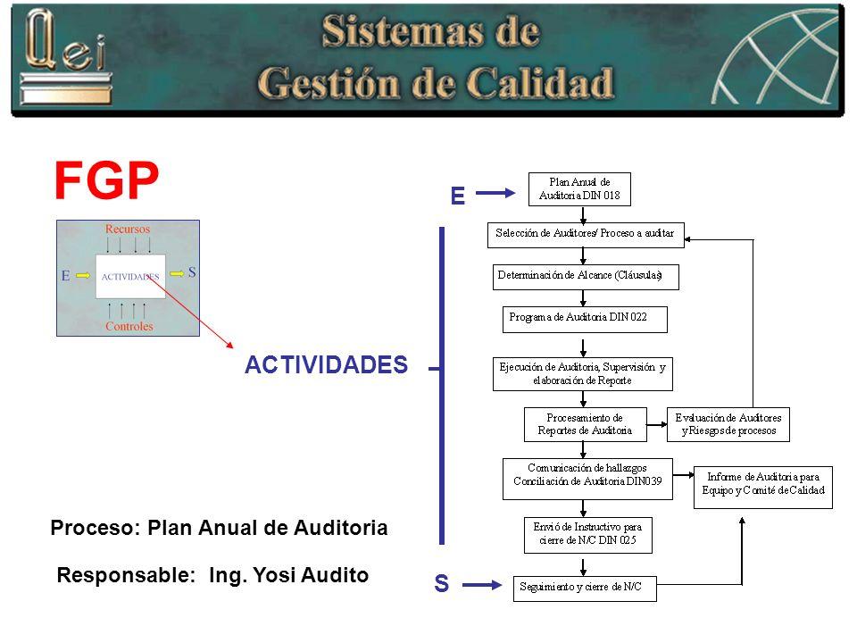 FGP S E ACTIVIDADES Responsable: Ing. Yosi Audito Proceso: Plan Anual de Auditoria