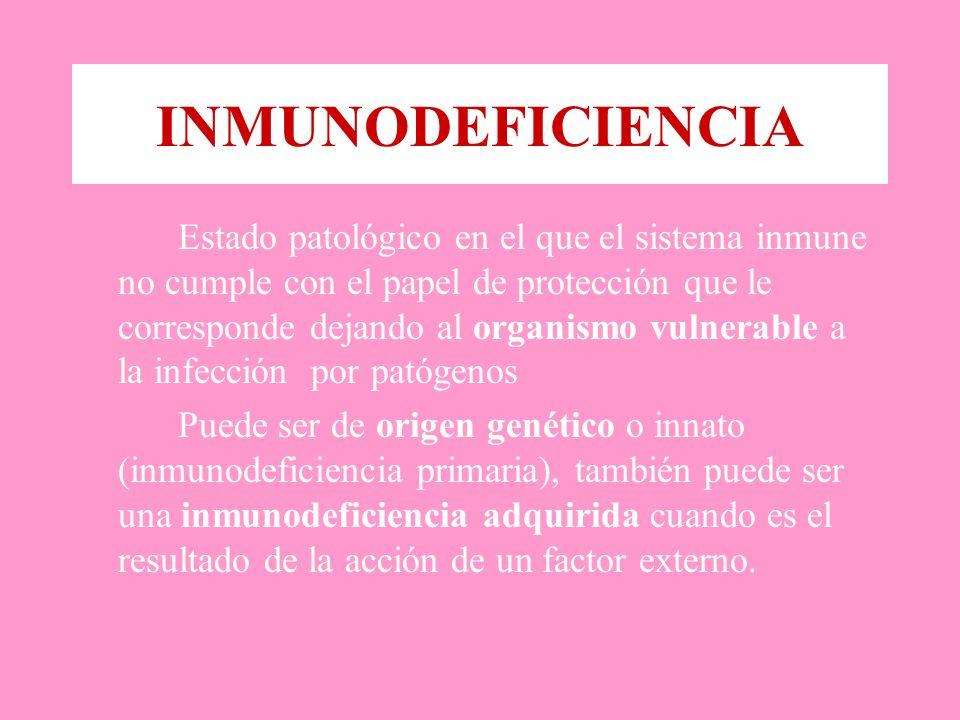INMUNODEFICIENCIA Estado patológico en el que el sistema inmune no cumple con el papel de protección que le corresponde dejando al organismo vulnerable a la infección por patógenos Puede ser de origen genético o innato (inmunodeficiencia primaria), también puede ser una inmunodeficiencia adquirida cuando es el resultado de la acción de un factor externo.