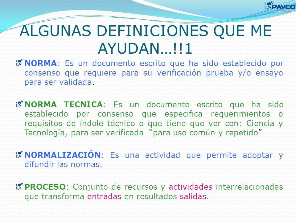 ALGUNAS DEFINICIONES QUE ME AYUDAN…!!1 NORMA: Es un documento escrito que ha sido establecido por consenso que requiere para su verificación prueba y/
