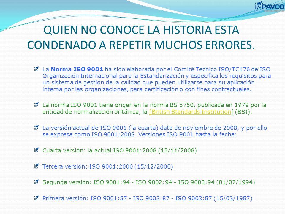 QUIEN NO CONOCE LA HISTORIA ESTA CONDENADO A REPETIR MUCHOS ERRORES. La Norma ISO 9001 ha sido elaborada por el Comité Técnico ISO/TC176 de ISO Organi