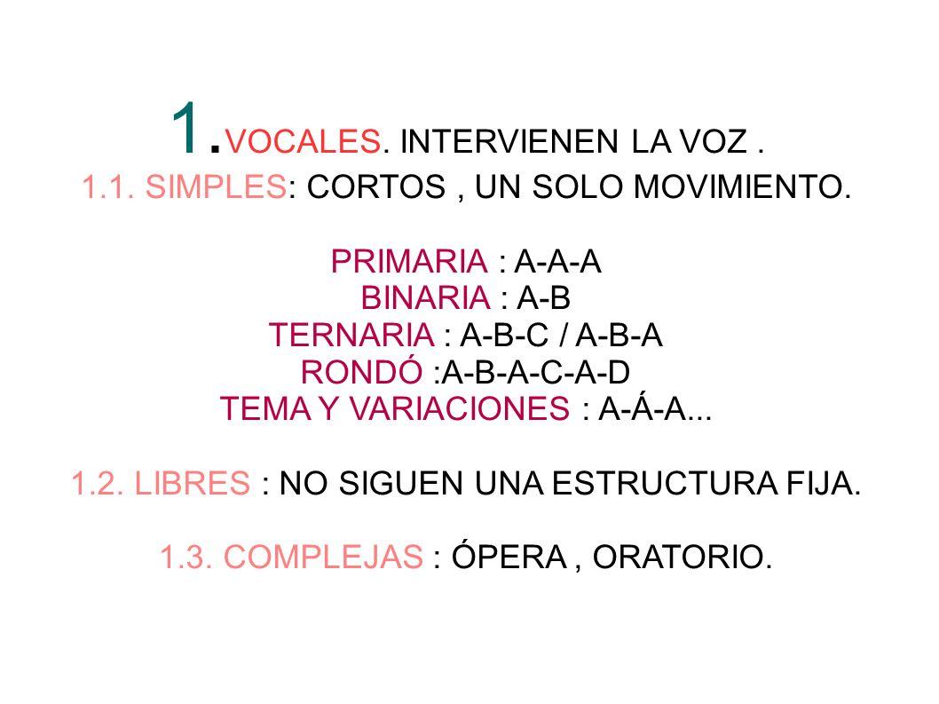 2.INSRUMENTALES: EXCLUSIVAMENTE INSTRUMENTOS. 2.1 SIMPLES: CORTOS UN SOLO MOVIMIENTO.