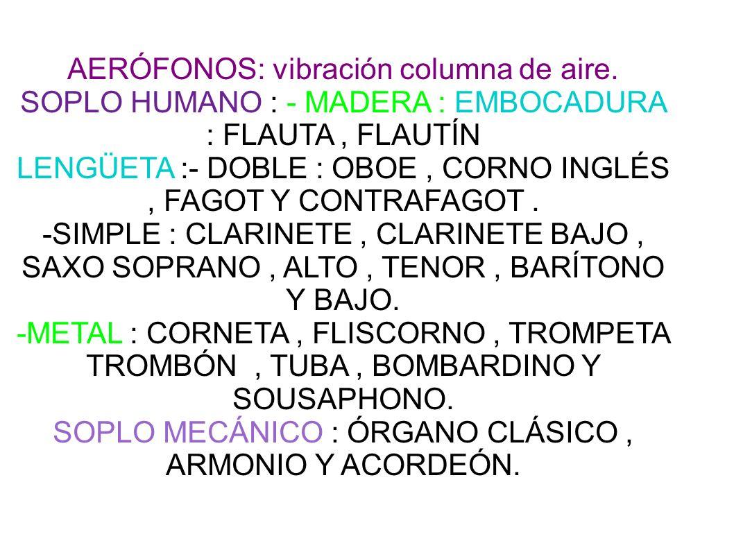 CORDÓFONOS:vibración de cuerdas.FROTADAS:VIOLÍN,VIOLA,VIOLONCELLO Y CONTRABAJO.