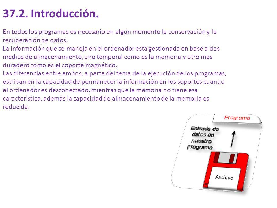 37.1. Objetivos del tema. Entrar en la filosofía de utilización de los archivos en programación.