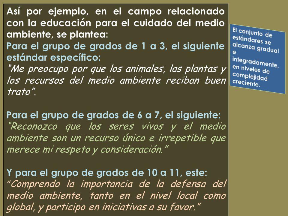 Así por ejemplo, en el campo relacionado con la educación para el cuidado del medio ambiente, se plantea: Para el grupo de grados de 1 a 3, el siguien