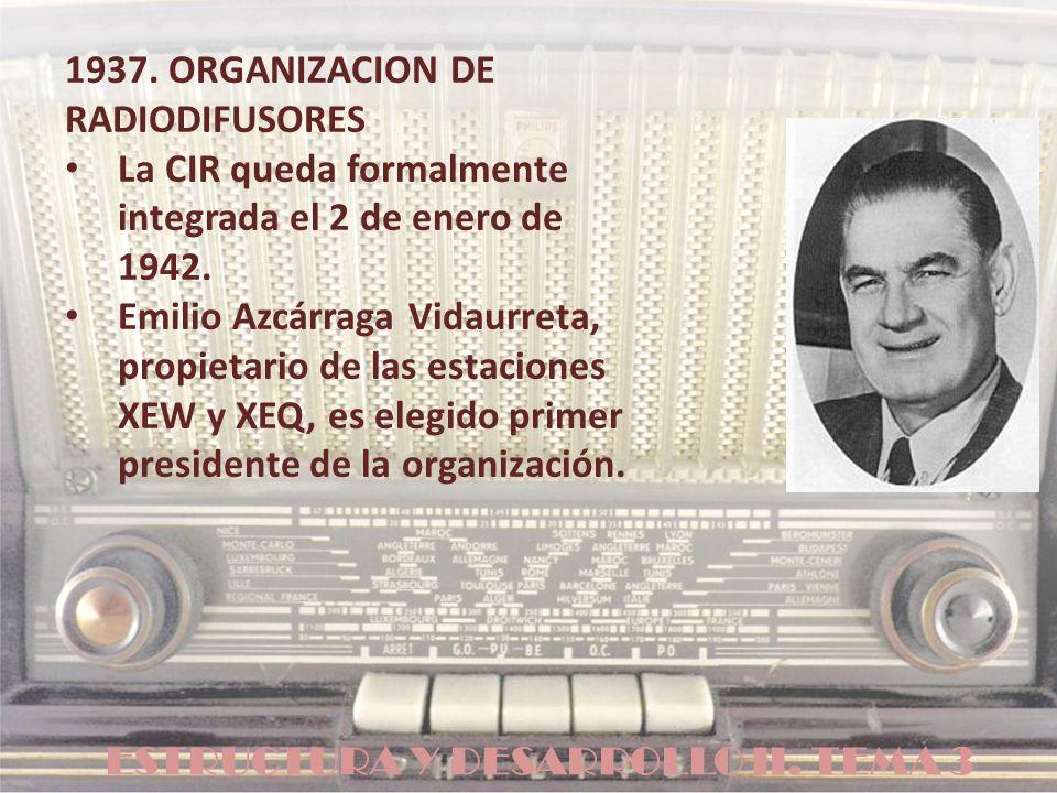 ESTRUCTURA Y DESARROLLO II. TEMA 3 1937. ORGANIZACION DE RADIODIFUSORES La CIR queda formalmente integrada el 2 de enero de 1942. Emilio Azcárraga Vid