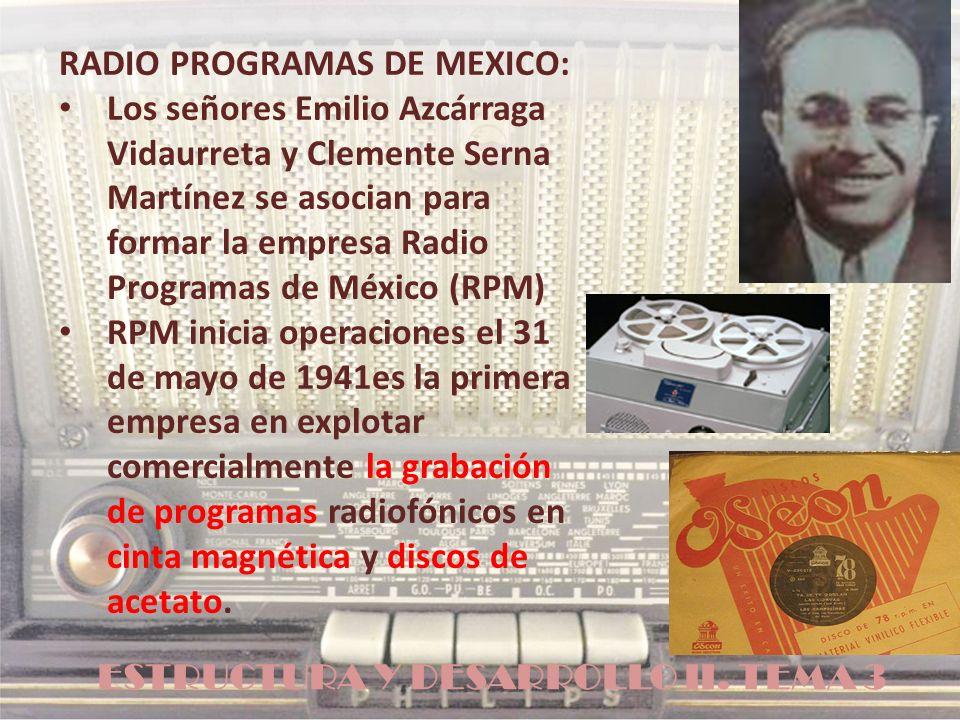ESTRUCTURA Y DESARROLLO II. TEMA 3 RADIO PROGRAMAS DE MEXICO: Los señores Emilio Azcárraga Vidaurreta y Clemente Serna Martínez se asocian para formar
