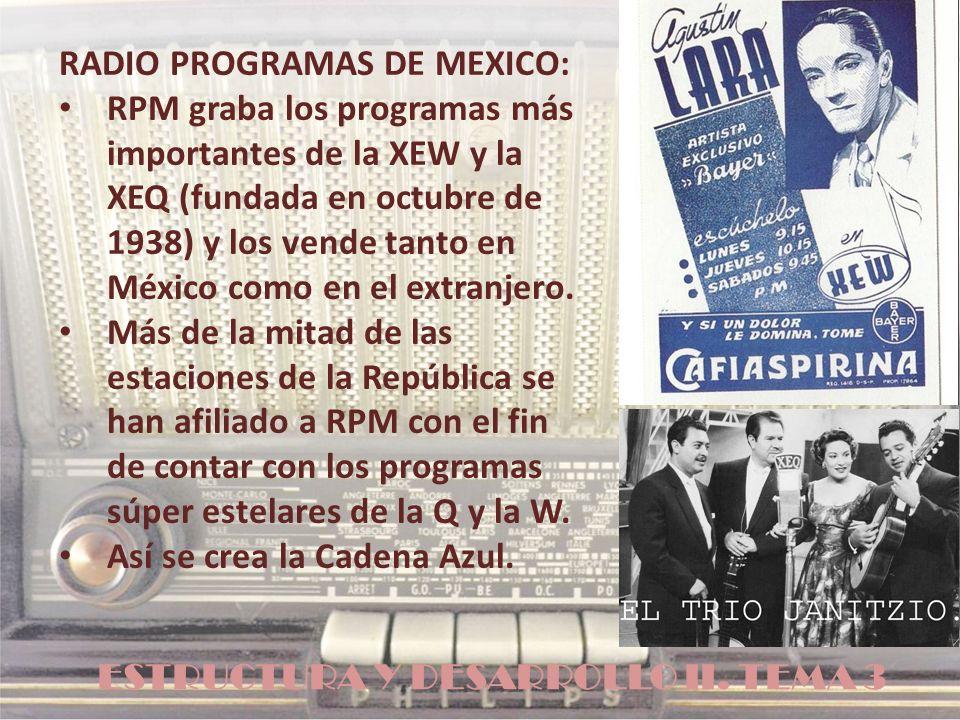 ESTRUCTURA Y DESARROLLO II. TEMA 3 RADIO PROGRAMAS DE MEXICO: RPM graba los programas más importantes de la XEW y la XEQ (fundada en octubre de 1938)