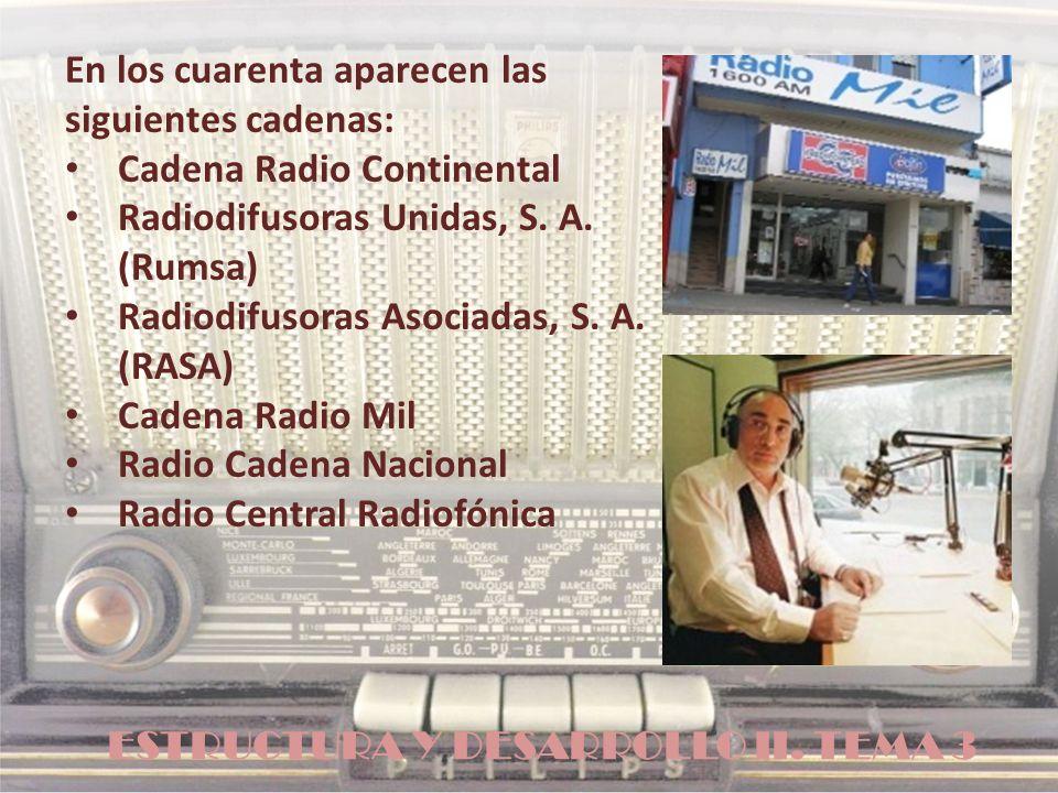 ESTRUCTURA Y DESARROLLO II. TEMA 3 En los cuarenta aparecen las siguientes cadenas: Cadena Radio Continental Radiodifusoras Unidas, S. A. (Rumsa) Radi