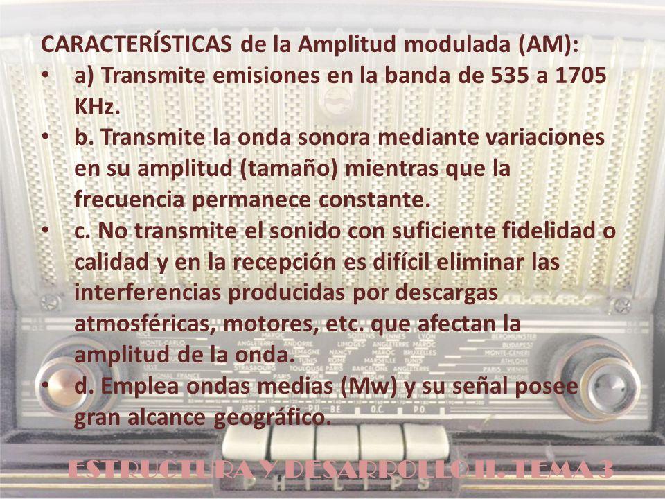 ESTRUCTURA Y DESARROLLO II. TEMA 3 CARACTERÍSTICAS de la Amplitud modulada (AM): a) Transmite emisiones en la banda de 535 a 1705 KHz. b. Transmite la