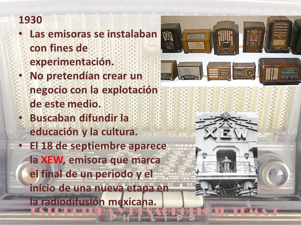 ESTRUCTURA Y DESARROLLO II. TEMA 3 1930 Las emisoras se instalaban con fines de experimentación. No pretendían crear un negocio con la explotación de