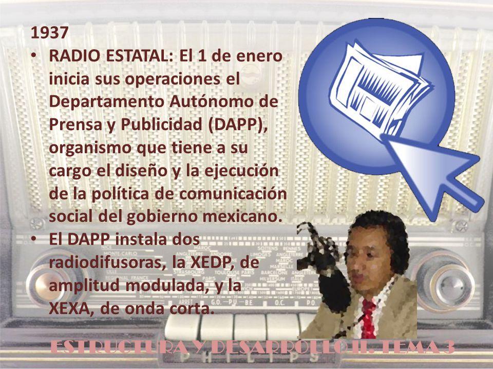 ESTRUCTURA Y DESARROLLO II. TEMA 3 1937 RADIO ESTATAL: El 1 de enero inicia sus operaciones el Departamento Autónomo de Prensa y Publicidad (DAPP), or