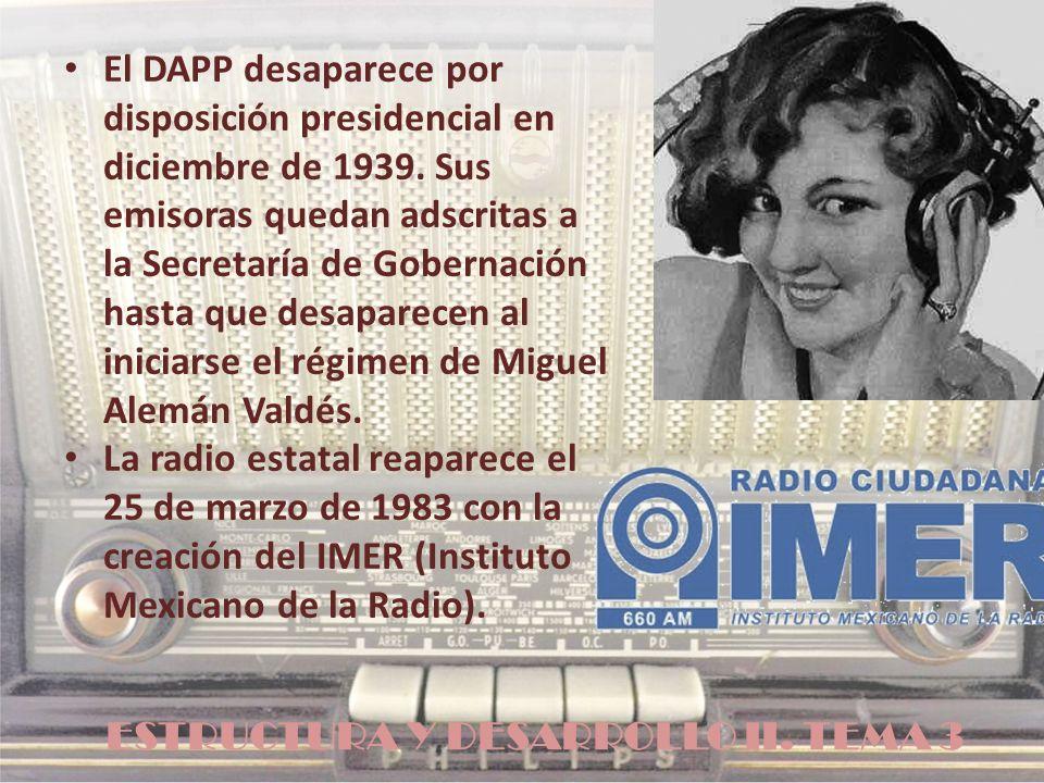 ESTRUCTURA Y DESARROLLO II. TEMA 3 El DAPP desaparece por disposición presidencial en diciembre de 1939. Sus emisoras quedan adscritas a la Secretaría