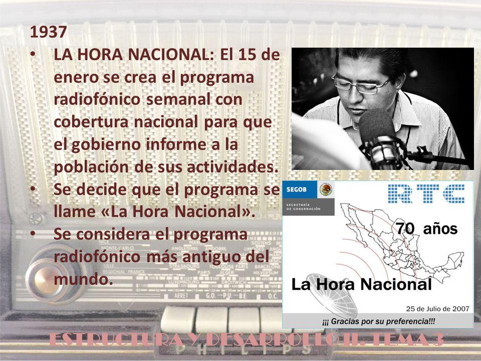 ESTRUCTURA Y DESARROLLO II. TEMA 3 1937 LA HORA NACIONAL: El 15 de enero se crea el programa radiofónico semanal con cobertura nacional para que el go