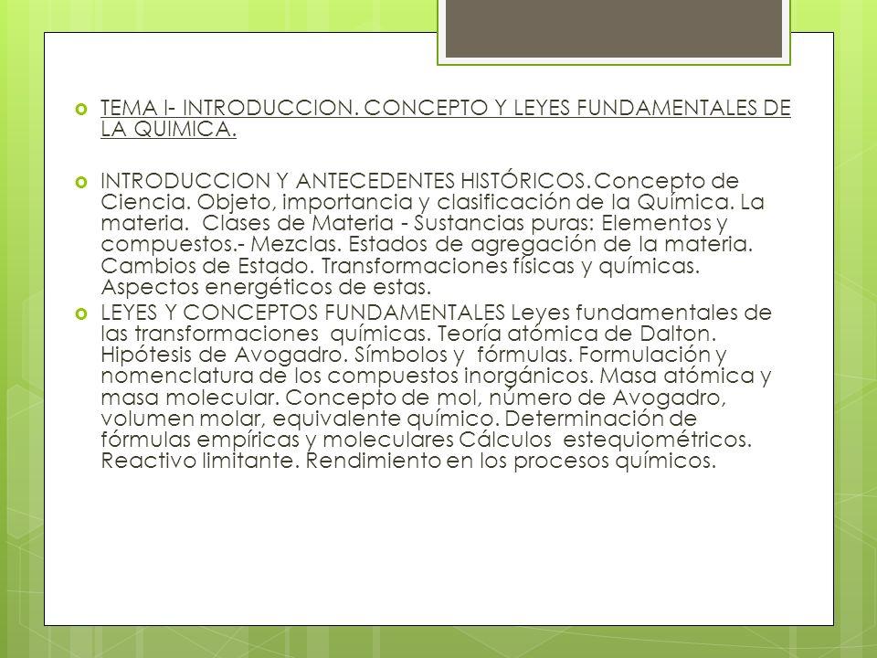 TEMA I- INTRODUCCION. CONCEPTO Y LEYES FUNDAMENTALES DE LA QUIMICA. INTRODUCCION Y ANTECEDENTES HISTÓRICOS.Concepto de Ciencia. Objeto, importancia y