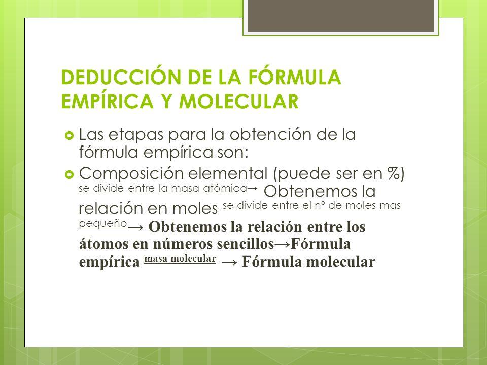 DEDUCCIÓN DE LA FÓRMULA EMPÍRICA Y MOLECULAR Las etapas para la obtención de la fórmula empírica son: Composición elemental (puede ser en %) se divide