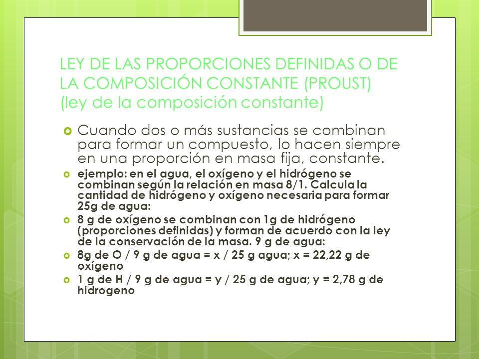 LEY DE LAS PROPORCIONES DEFINIDAS O DE LA COMPOSICIÓN CONSTANTE (PROUST) (ley de la composición constante) Cuando dos o más sustancias se combinan par