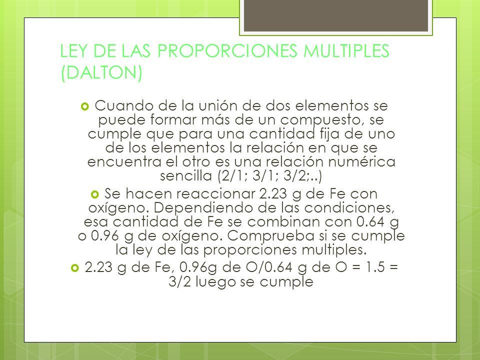 LEY DE LAS PROPORCIONES MULTIPLES (DALTON) Cuando de la unión de dos elementos se puede formar más de un compuesto, se cumple que para una cantidad fi