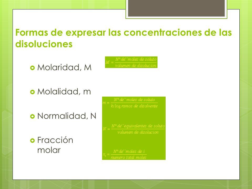 Formas de expresar las concentraciones de las disoluciones Molaridad, M Molalidad, m Normalidad, N Fracción molar
