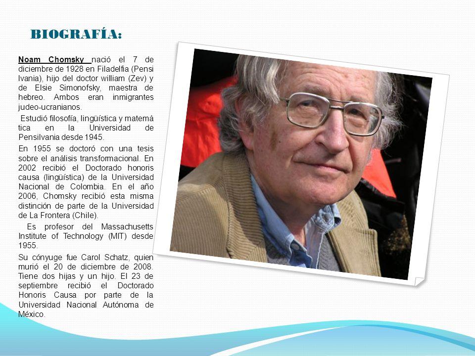 BIOGRAFÍA: Noam Chomsky nació el 7 de diciembre de 1928 en Filadelfia (Pensi lvania), hijo del doctor william (Zev) y de Elsie Simonofsky, maestra de hebreo.
