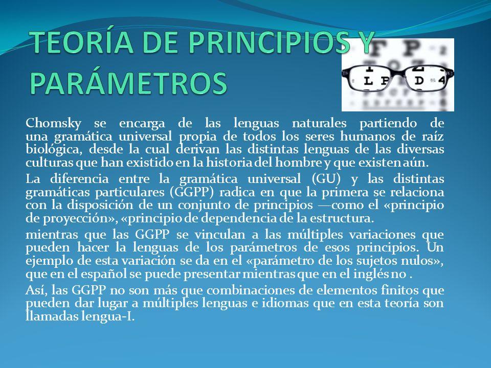 Chomsky se encarga de las lenguas naturales partiendo de una gramática universal propia de todos los seres humanos de raíz biológica, desde la cual derivan las distintas lenguas de las diversas culturas que han existido en la historia del hombre y que existen aún.