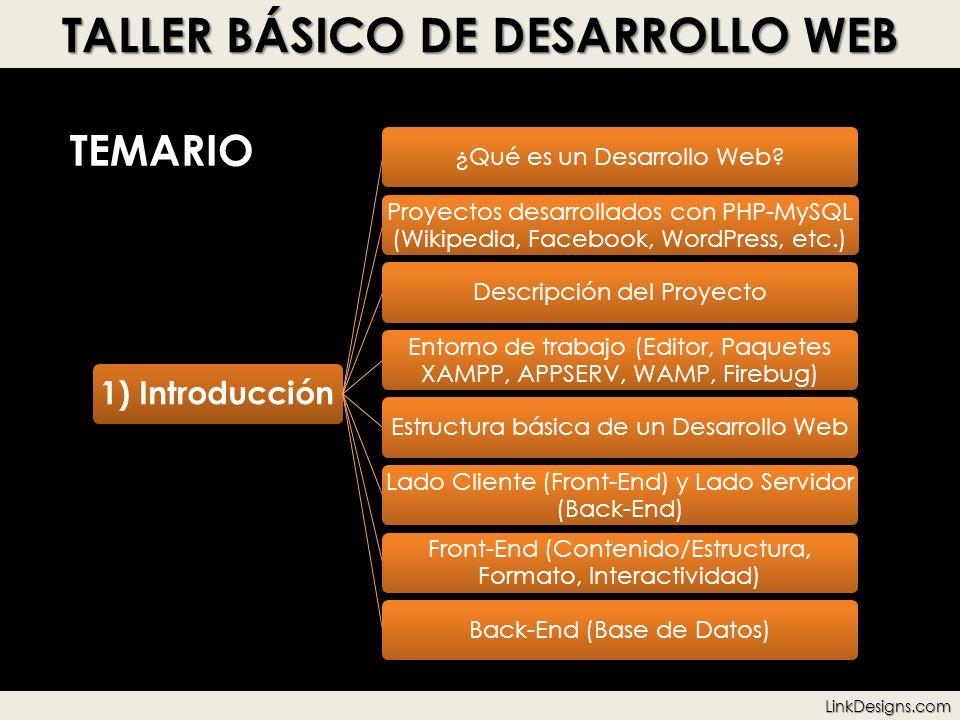 TALLER BÁSICO DE DESARROLLO WEB TEMARIO 2) HTML/HTML5 Estructura de un Documento HTML Elementos básicos (p, h, a, img, table, form, div, etc.) Desarrollar el template LinkDesigns.com