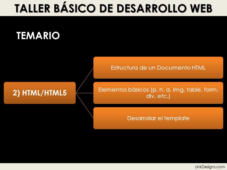 TALLER BÁSICO DE DESARROLLO WEB TEMARIO 2) HTML/HTML5 Estructura de un Documento HTML Elementos básicos (p, h, a, img, table, form, div, etc.) Desarro