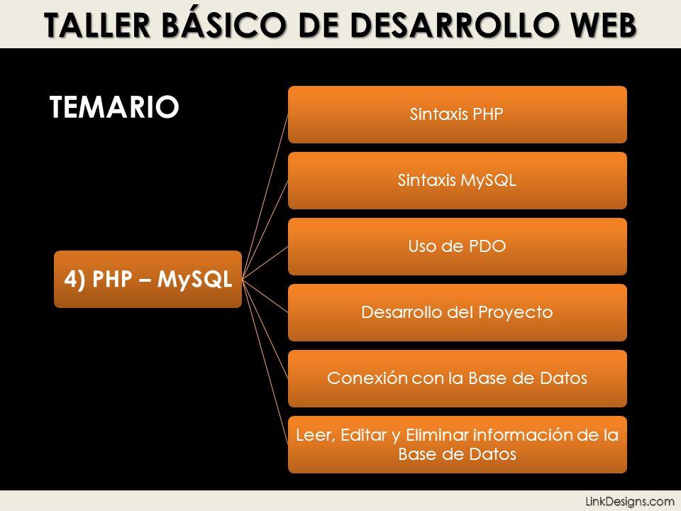 TALLER BÁSICO DE DESARROLLO WEB TEMARIO 4) PHP – MySQL Sintaxis PHPSintaxis MySQLUso de PDODesarrollo del ProyectoConexión con la Base de Datos Leer,