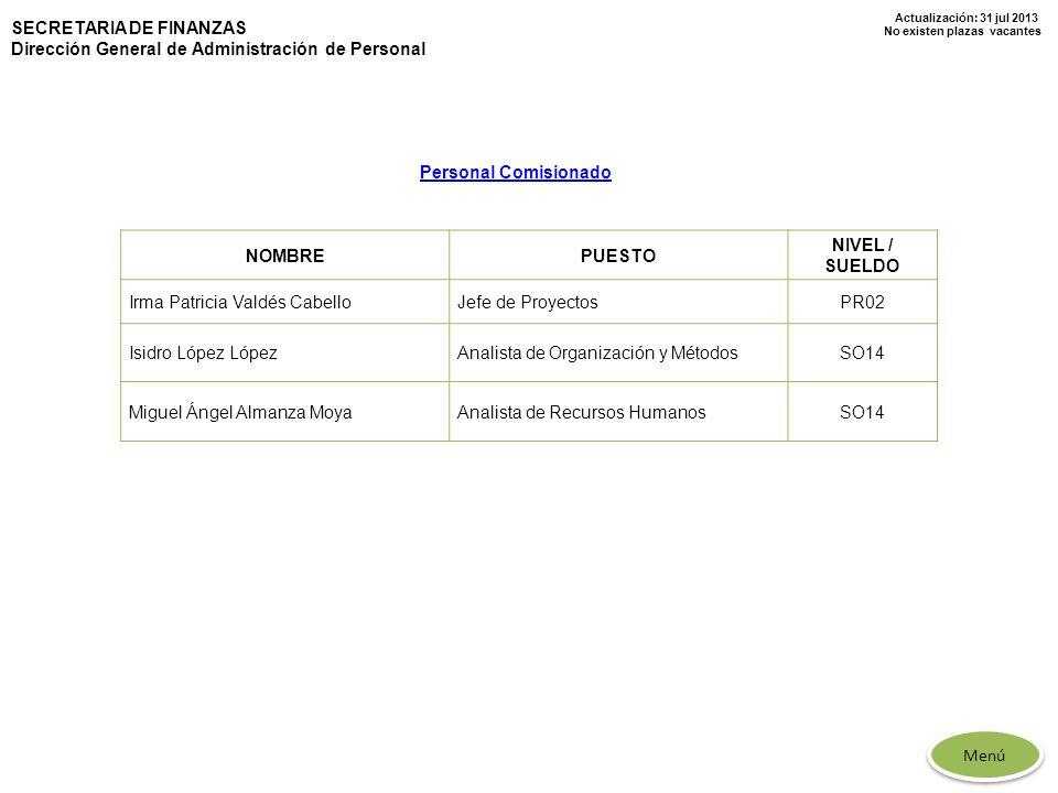 Actualización: 31 jul 2013 No existen plazas vacantes SECRETARIA DE FINANZAS Dirección General de Administración de Personal NOMBREPUESTO NIVEL / SUEL