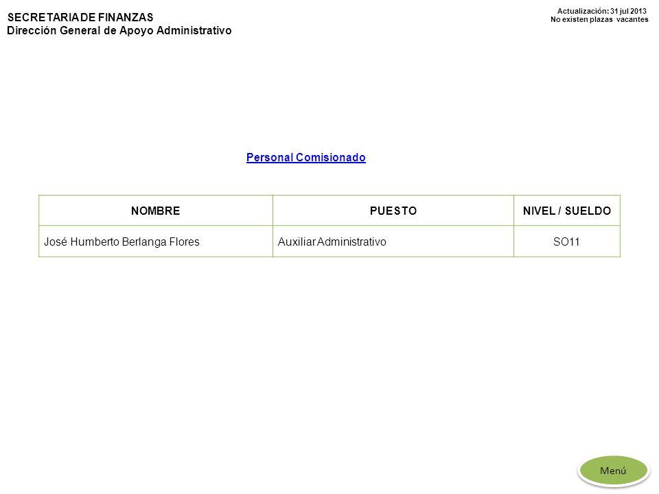 Actualización: 31 jul 2013 No existen plazas vacantes SECRETARIA DE FINANZAS Dirección General de Apoyo Administrativo NOMBREPUESTONIVEL / SUELDO José