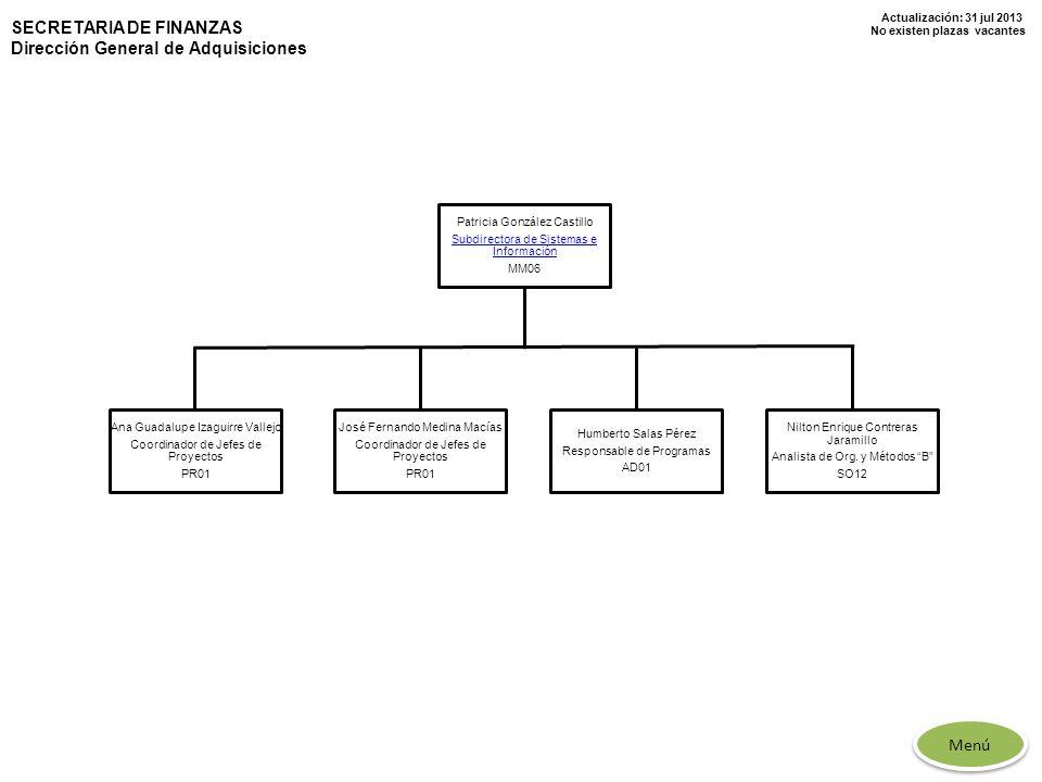 Actualización: 31 jul 2013 No existen plazas vacantes SECRETARIA DE FINANZAS Dirección General de Adquisiciones Patricia González Castillo Subdirector