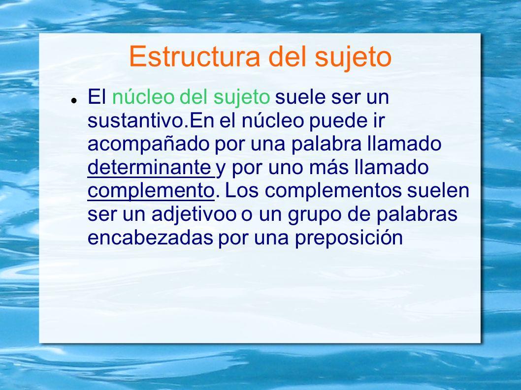 Estructura del sujeto El núcleo del sujeto suele ser un sustantivo.En el núcleo puede ir acompañado por una palabra llamado determinante y por uno más